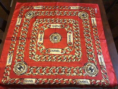 Vintage Chanel Red Gold Rue Cambon Scarf