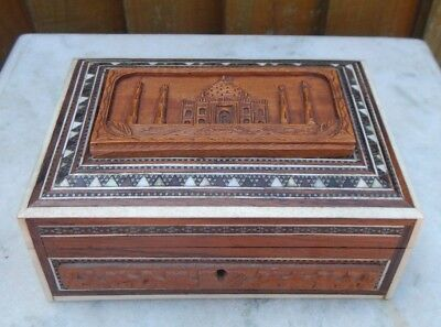 Antique Anglo Indian Hand Carved Sandalwood & Micro Mosaic Box ~ Taj Mahal Scene