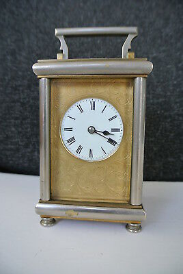 Brass carriage clock antique lovely quality working caduceus mark R 8 filigree