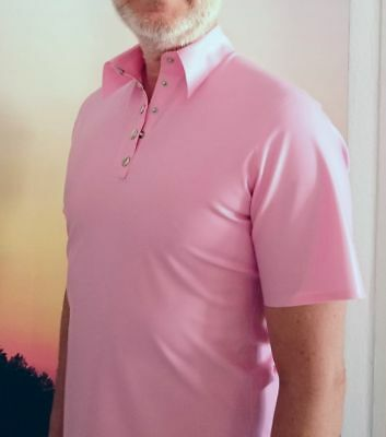 Latex Polo Shirt pink rosa + L bis XL + Rubber + Anzug +