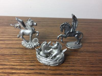 Lot of 3 Vintage Dainty Pewter UNICORNS Figurines Two are marked Spoontiques