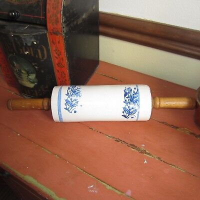 antique blue and white stoneware rolling pin, wildflower, very good condition