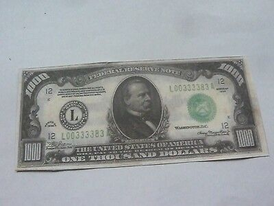 ONE SIDED $1000 US  BANKNOTE  for display only
