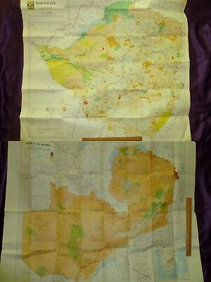 c1970 2 Wall Maps of Rhodesia and Zambia    Good++ Condition