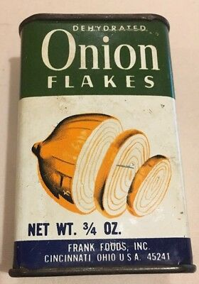 Vintage FRANK'S Dehydrated Onion Flakes SPICE TIN Frank Foods BRAND