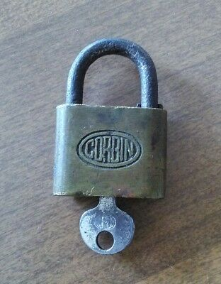 Vintage Brass And Steel Small Corbin Padlock With Original Key