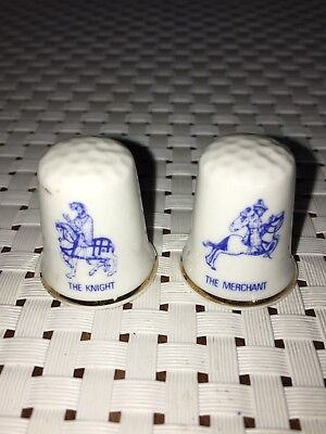 2 FINGERHÜTE Thimbles Porzellan Bone China Knight & Merchant