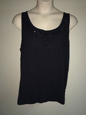 efe4a28aff2 Lane Bryant Tank Top Plus Size 14 16 Black Embellished Womens NWT  49.95