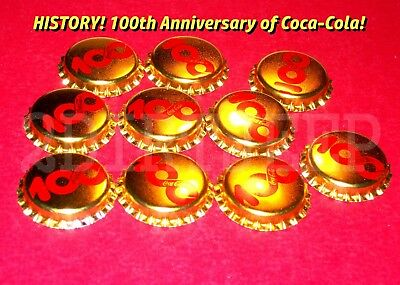 10 COCA-COLA COKE 100th ANNIVERSARY SODA GOLD 1886-1986 POP UNUSED BOTTLE CAP