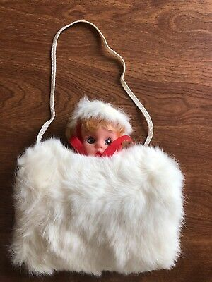 Vintage 1968 girls hand muff with  doll head