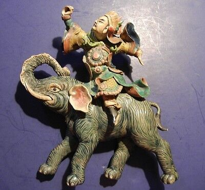 Beautiful 19Th Century Chinese Figural Roof Tile Warrior On Elephant