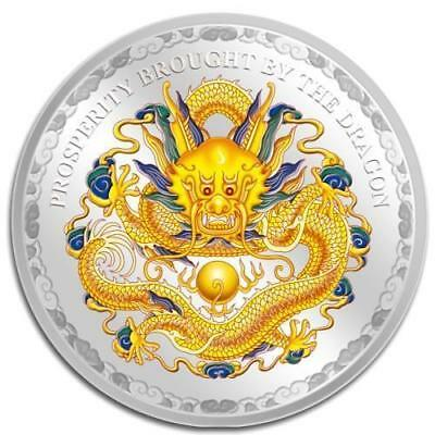 Cook Islands 2012 $5 Prosperity Brought by the Dragon Yellow 1 Oz Silver Coin