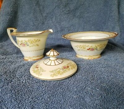 FANCY Old Noritake cream and sugar Red rose, Gold edged, flowers, Art Nouveau?