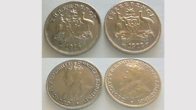 1915 &1922 over 1 THREEPENCE COIN TOKENS. Great cond. Add to your Album