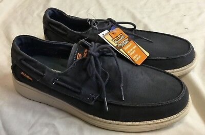 841ee31c2b5c NEW W TAG Mens SKECHERS STATUS MELEC Navy Vintage Washed Canvas Boat Shoes  Sz 12