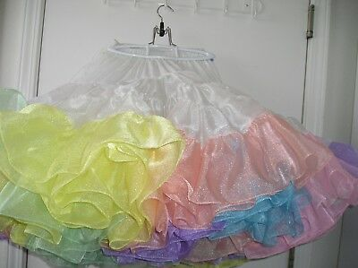 White Crystal With Mult-Colored Ruffles Square Dance Petticoat