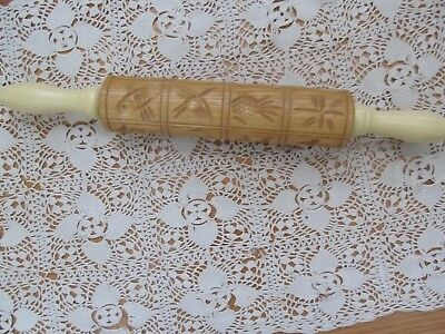 Vintage Springerle Carved Cookie Mold Press Rolling Pin Birds/fruit/fish/flowers