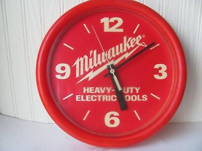 Milwaukee Tools Advertising Clock 14 Inch Diameter Red Heavy Duty Electric Tools