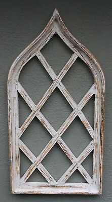 Wooden Antique Style Church WINDOW Frame Primitive Wood Gothic 33 Inch Shabby