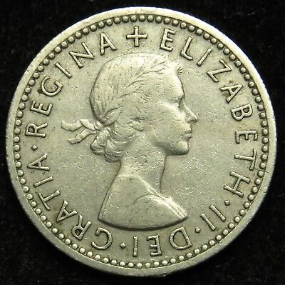 1954 UK Great Britain England Elizabeth II Six Pence (B01)