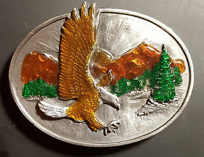 Vintage 1982 Siskiyou Flying Eagle Enameled Belt Buckle Mountains Trees 0-10 USA