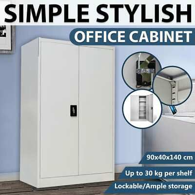 vidaXL Office Cabinet 90x40x140 cm Steel Grey Storage Cupboard Stationary File