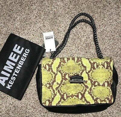 Aimee Kestenberg Clutch Purse Leather Quilted Front Cobra Yellow Green Multi NWT