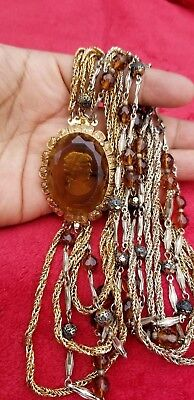 Antique Victorian gold plated smoky cameo multistand rhinestone necklace