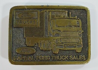 Vintage Adezy 1978 Ford L9000 Belt Buckle Capital Ford Truck Sales Brass Semi