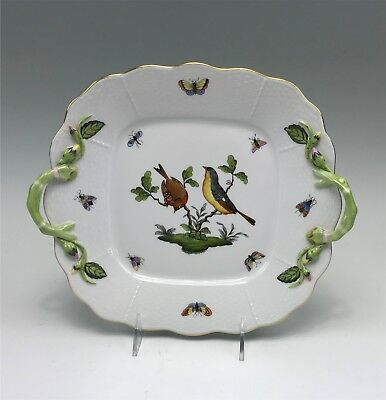 "Herend Hungary Roithschild Bird 11"" Squared Handled Cake Plate Insects Birds"