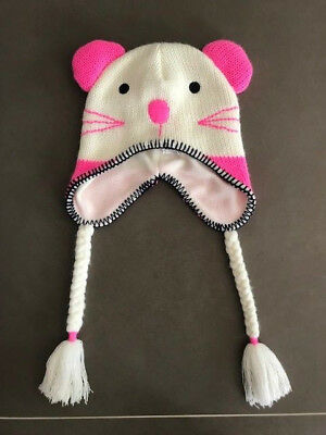 Seed Girls Pink And Cream Mouse Beanie Size S/m Bnwot