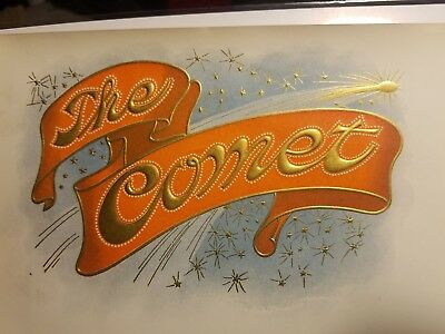 THE COMET CIGAR BOX LABEL LITHO Salesman's Sample 1900-1910 SPACE ASTRONOMY