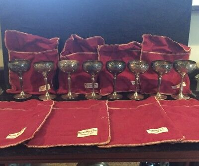 Antique Hand Chased Silver Plated Wine Goblets, Set Of 8 With Cloth Sleeves (Z21