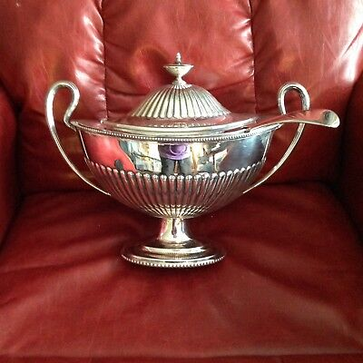 English Victorian Soup Tureen With Ladle