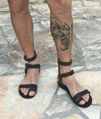 b2f1cce10f01 mens genuine leather gladiator sandals strap ankle high toe ring cuff Greek