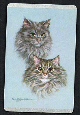 Vintage Playing Swap Card :   GREY CAT HEADS