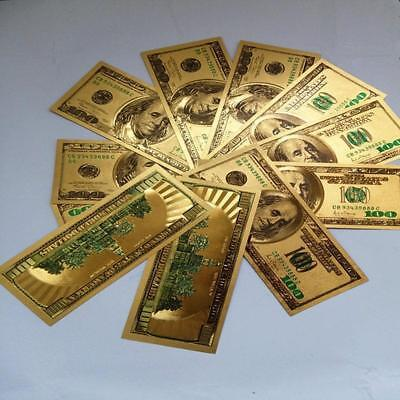 1PC 24K Gold Foil Banknotes $100 Christmas Gifts Home Decor Collections