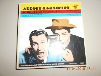 "Abbott & Costello ""midget Car Maniacs"" Super 8 Home Movie B&w Sound"