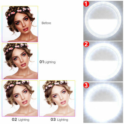 Rechargeable Selfie Light LED Ring Flash Fill Clip Camera For iPhone Samsung