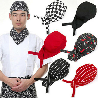 KQ_ Stripe Pirates Chef Tableware Skull Kitchen Cap Catering Various Chef Hat US