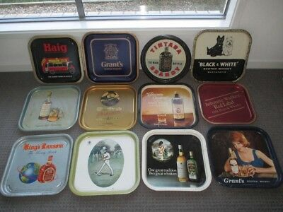 vintage whisky  tin drink trays collection