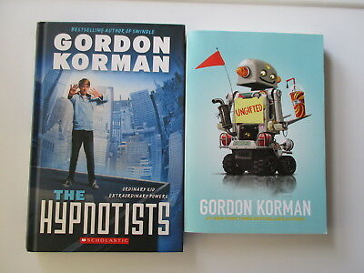 LOT of 2 Gordon Korman books UNGIFTED / THE HYPNOTISTS hard cover soft cover