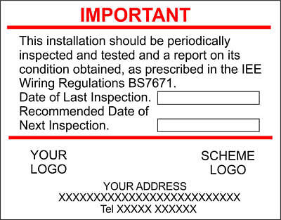 Personalised Next Inspection Labels  Full Colour Logo and Scheme x50 stickers