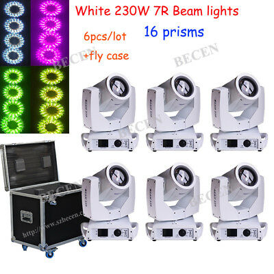 Touch screen White 230W 7R Beam Moving Head Light 16 prisms 6pcs+3pcs fly case