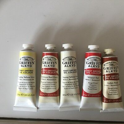 5 X Tubes Fast Drying Oil Paint-Winsor & Newton -Assorted Colours-Series 1 & 2