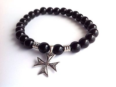 Men's Maltese Cross Black Onyx Gem Sterling Silver 925 Beaded Stretch Bracelet