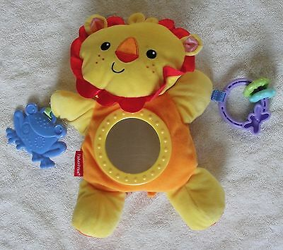 Fisher Price Plush Lion Mirror Rattle Frog Teether Clip On Activity Baby Toy