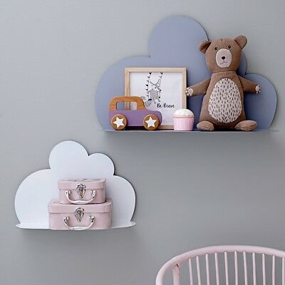 Decorative wall-hung metal cloud shelves x 4, for child's room or nursery
