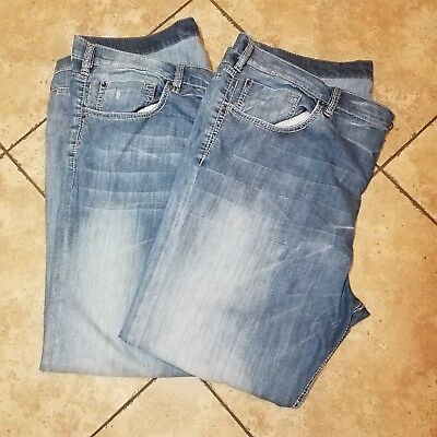 Lot of 2 Men's Buffalo Six Button Fly Blue Jeans Size 48 x 32
