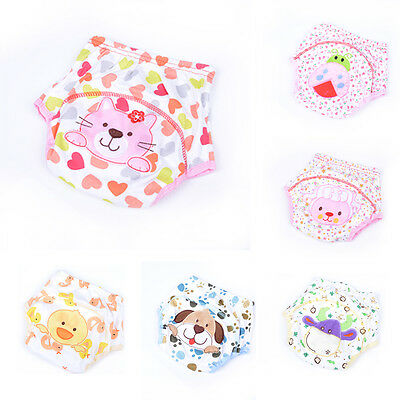 Toddler Kid Cotton Animal Cloth Waterproof Pull On Up Potty Training Pants uuyES